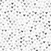 A collection of dark hearts on white background. Beautiful abstract stylish and modern design of small hearts arranged carelessly inside the whole square paper card.\nEdited hand painted watercolor hearts.\nHand-made original illustration. Zoom to see the details. Artwork full of depth, glamor and glow. Isolated design object.\nSEAMLESS PATTERN - duplicate it vertically and horizontally to get unlimited area.\nStylish minimalistic and luxury card design.\nVECTOR FILE.