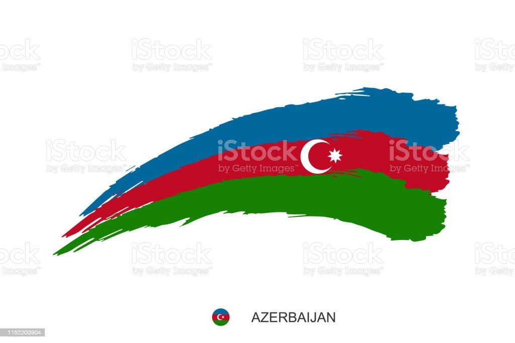 Azerbaycan Ulusal Bayragi Suluboya Boyama Grunge Firca Inme
