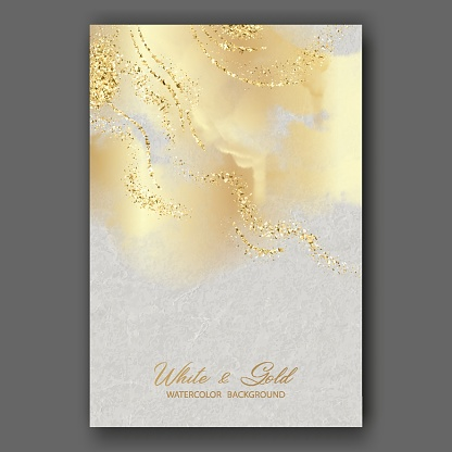 Artistic abstract watercolor painting with paper texture. Art gold and white background