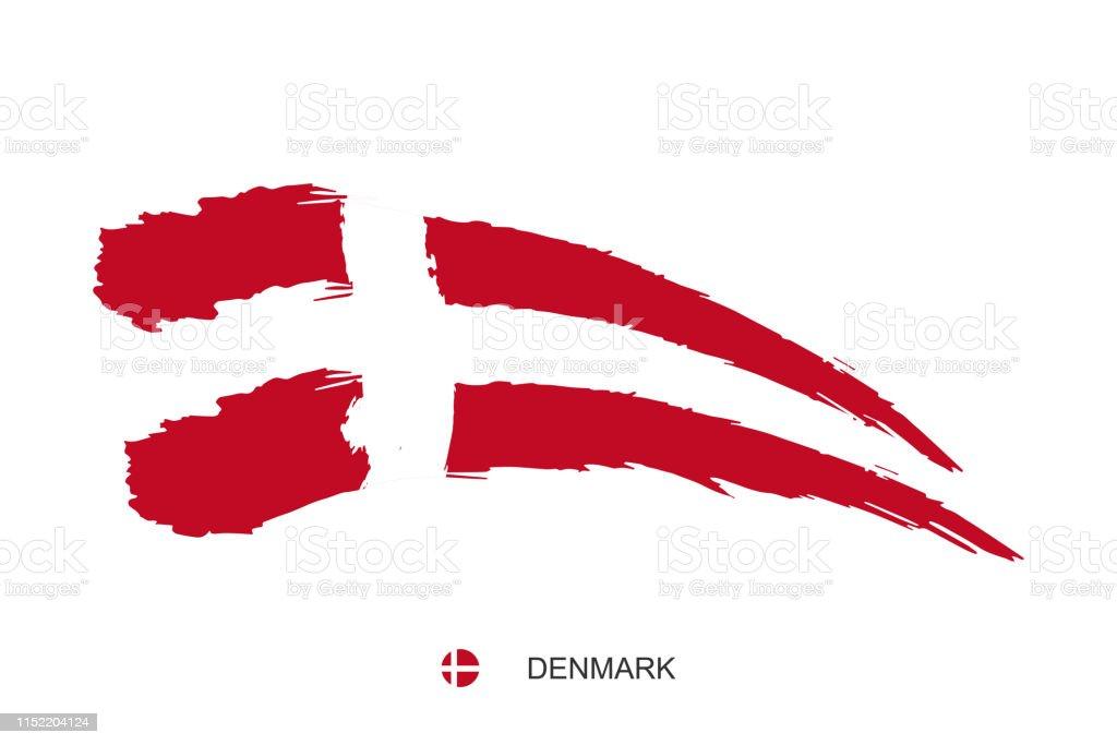 Watercolor Painting Denmark National Flag Grunge Brush White Cross