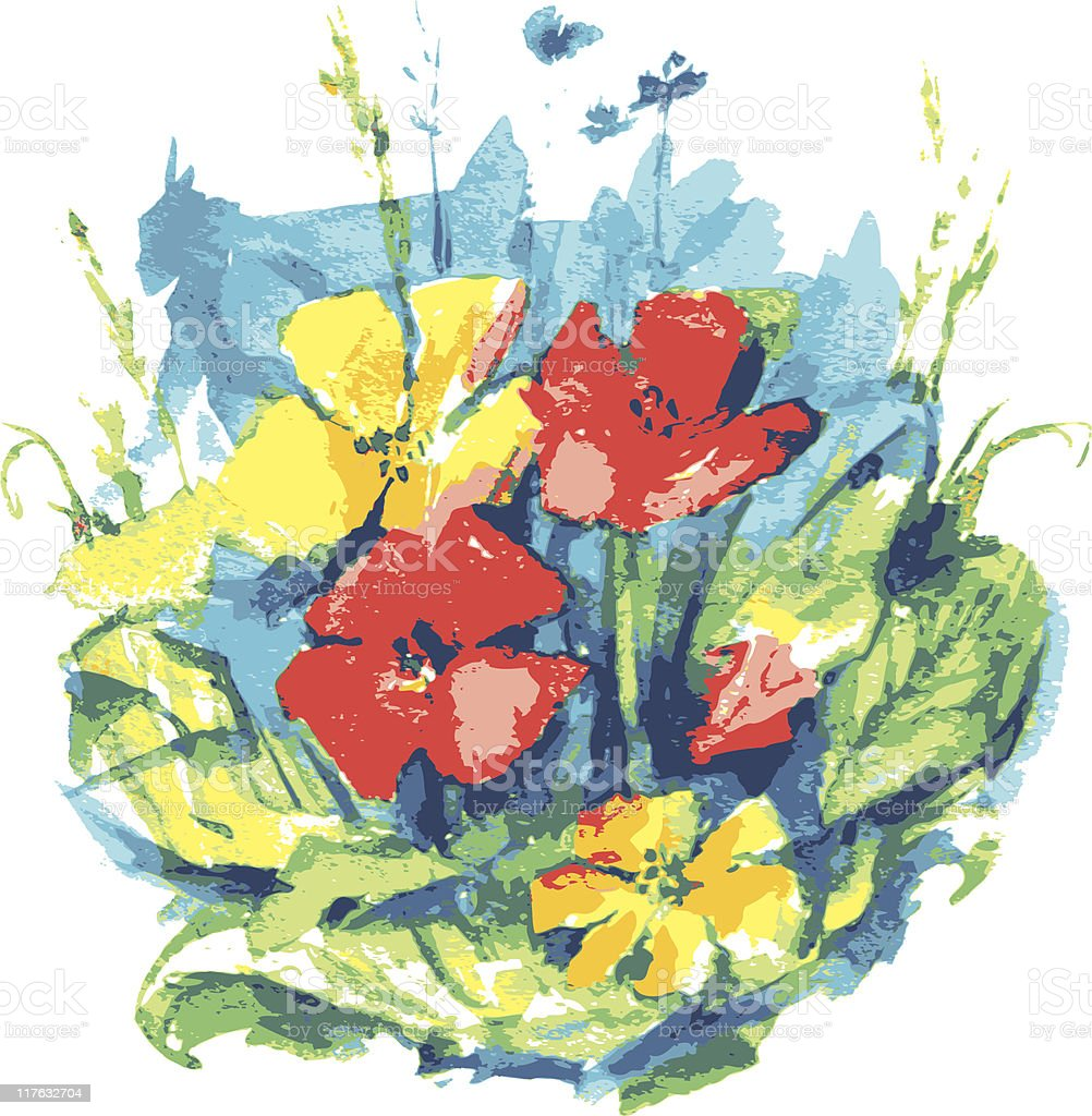 Watercolor painting depicting flowers. royalty-free watercolor painting depicting flowers stock vector art & more images of art