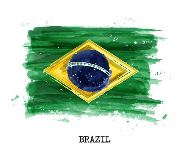 bildbanksillustrationer, clip art samt tecknat material och ikoner med akvarellmålning flagga brasilien. vektor - brasilien flagga
