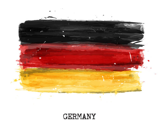 Watercolor painting flag of Germany . Vector vector art illustration
