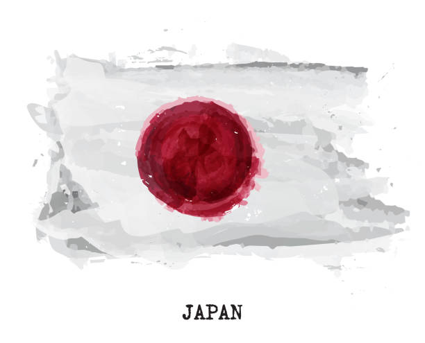 Watercolor painting flag of Japan . Vector vector art illustration