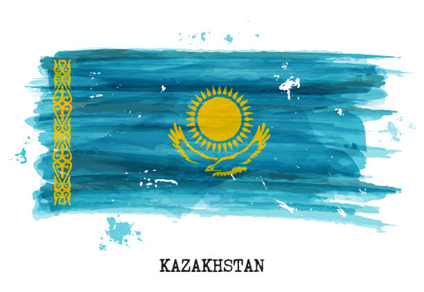 aquarell-flagge kasachstans. vektor - kasachstan stock-grafiken, -clipart, -cartoons und -symbole