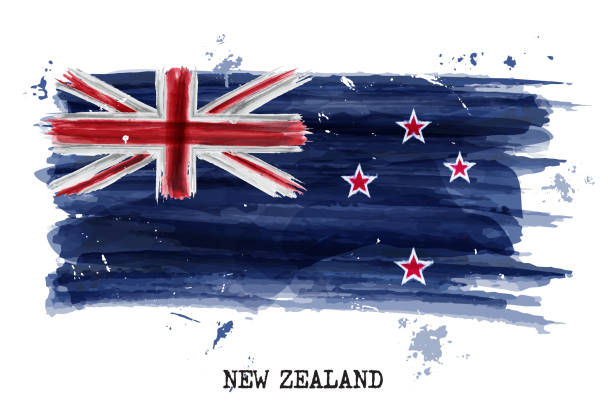 Watercolor painting flag of New zealand . Vector vector art illustration