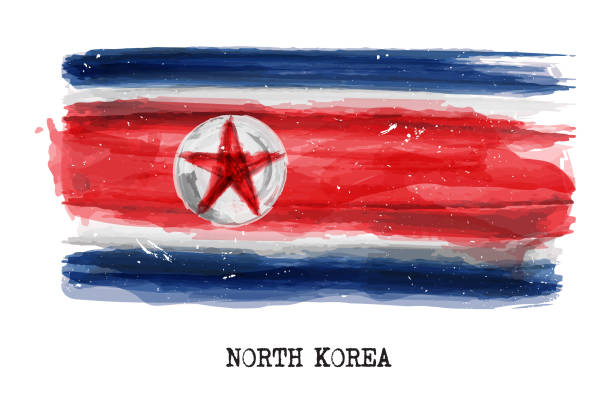 Watercolor painting flag of North korea . Vector vector art illustration
