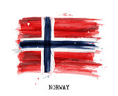 Watercolor painting flag of Norway . Vector .