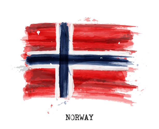 Watercolor painting flag of Norway . Vector vector art illustration