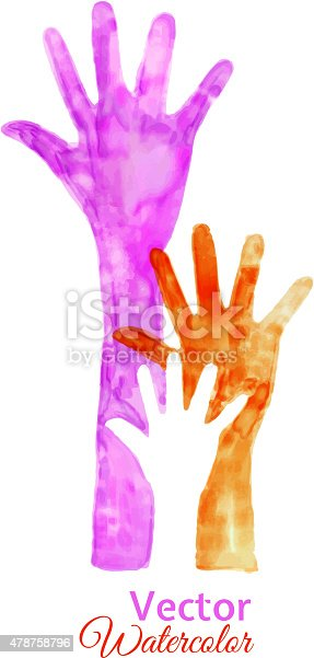 Watercolor Painting of Raised Hands, watercolor vector 10 Illustration.