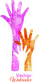 Watercolor Painting of Raised Hands