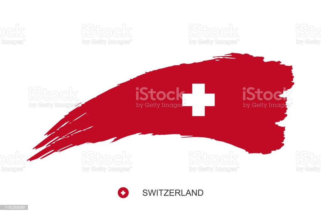 Watercolor Painting Switzerland National Flag Grunge Brush Red
