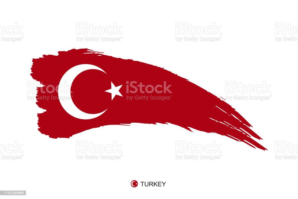 Beyaz Arka Planda Turkiye Ulusal Bayragi Suluboya Boyama Grunge El