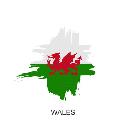 Watercolor painting Wales national flag. Grunge abstract brush stroke welsh Independence day red dragon symbol - Vector  illustration