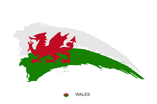 Watercolor painting Wales national flag. Grunge brush stroke welsh Independence day red dragon symbol - Vector abstract illustration