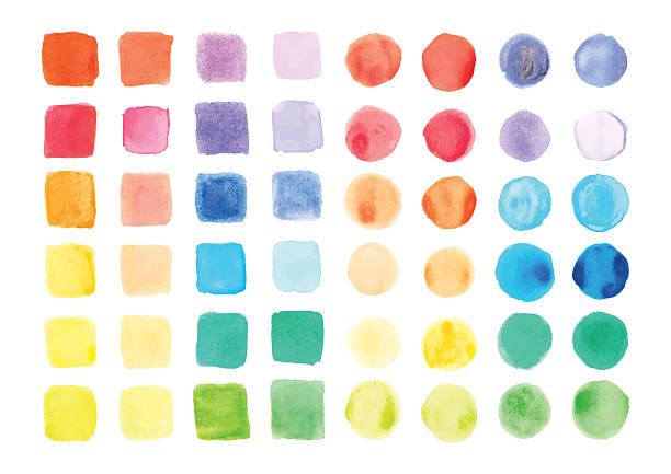 stockillustraties, clipart, cartoons en iconen met watercolor paints palette, vector illustration - kleurenwaaier