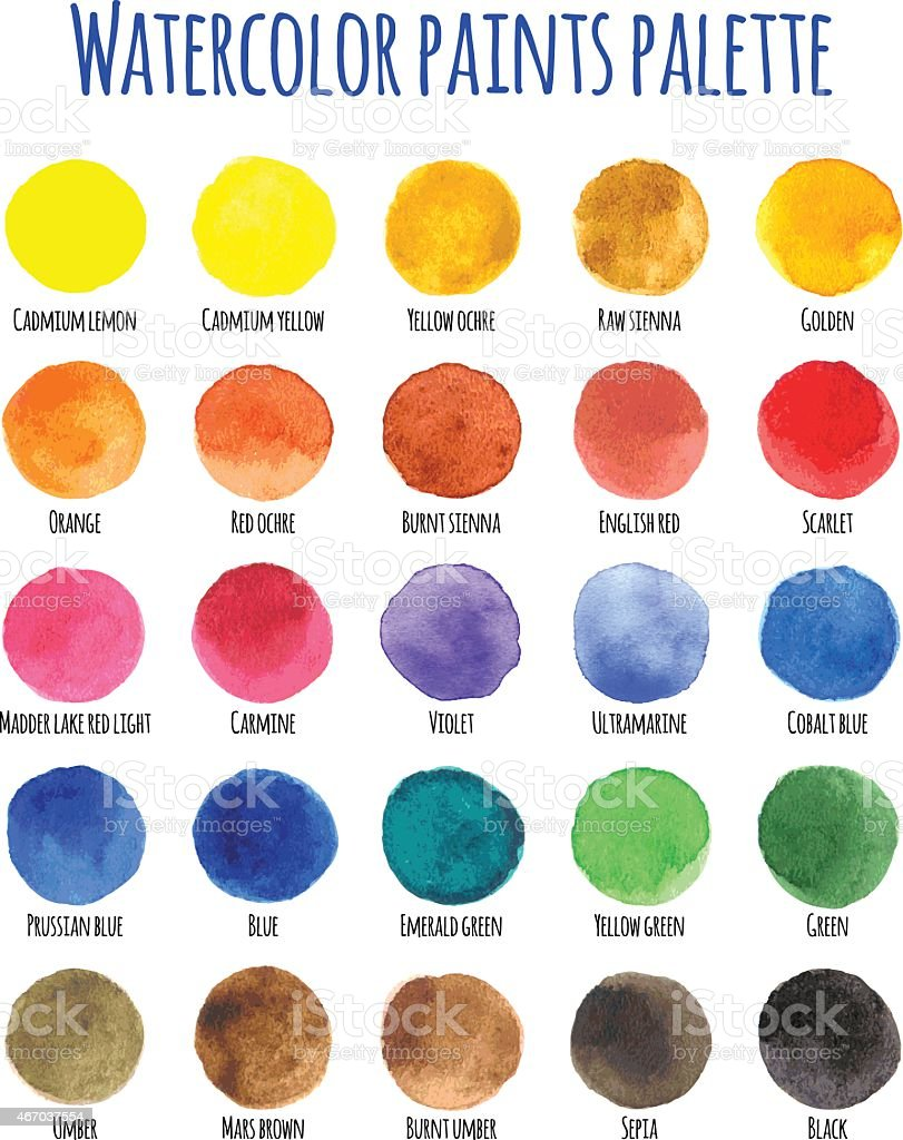 Watercolor paints palette with twenty five colors vector art illustration