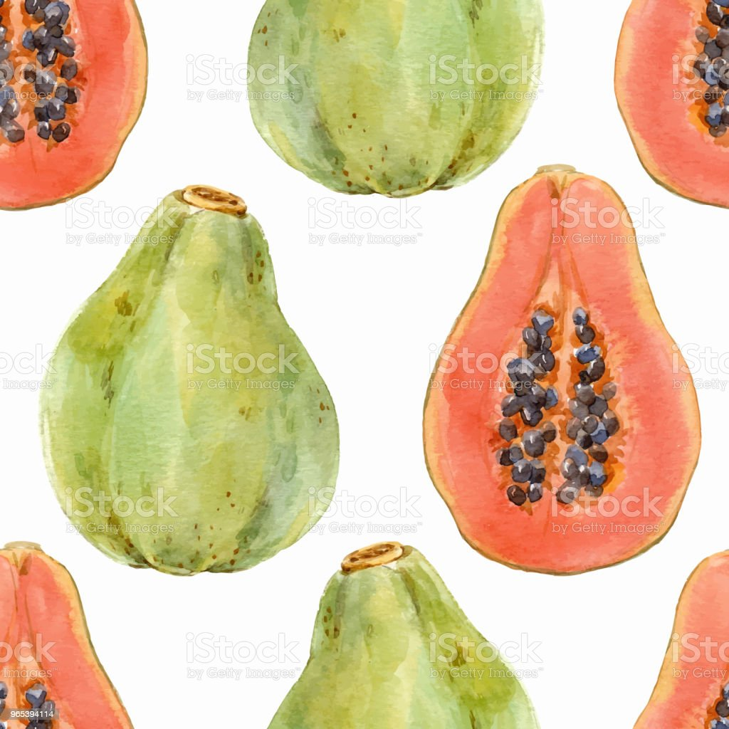 Watercolor papaya vector pattern royalty-free watercolor papaya vector pattern stock vector art & more images of art