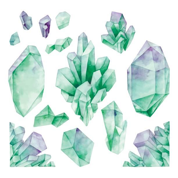 Acuarela pastel coloreada cristales - ilustración de arte vectorial