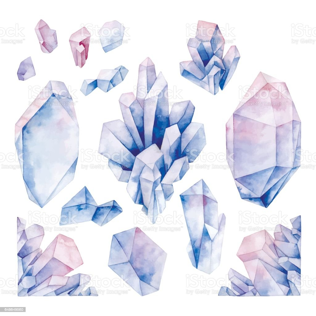 Watercolor pastel colored crystals vector art illustration