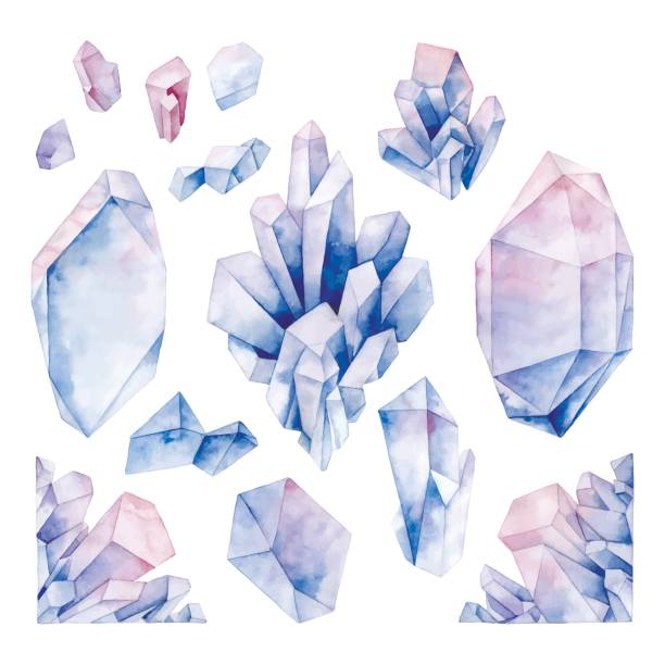 watercolor pastel colored crystals - gemstone stock illustrations, clip art, cartoons, & icons