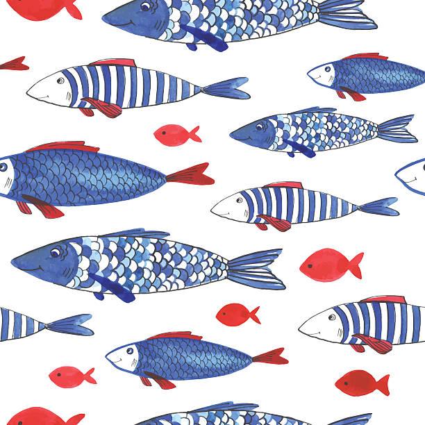 Acuarela patrón con divertidos fishes - ilustración de arte vectorial