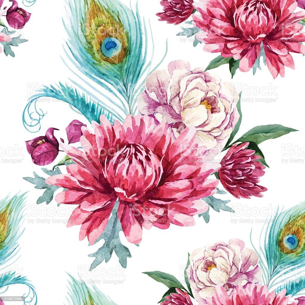 Watercolor peacock and flowers pattern vektör sanat illüstrasyonu