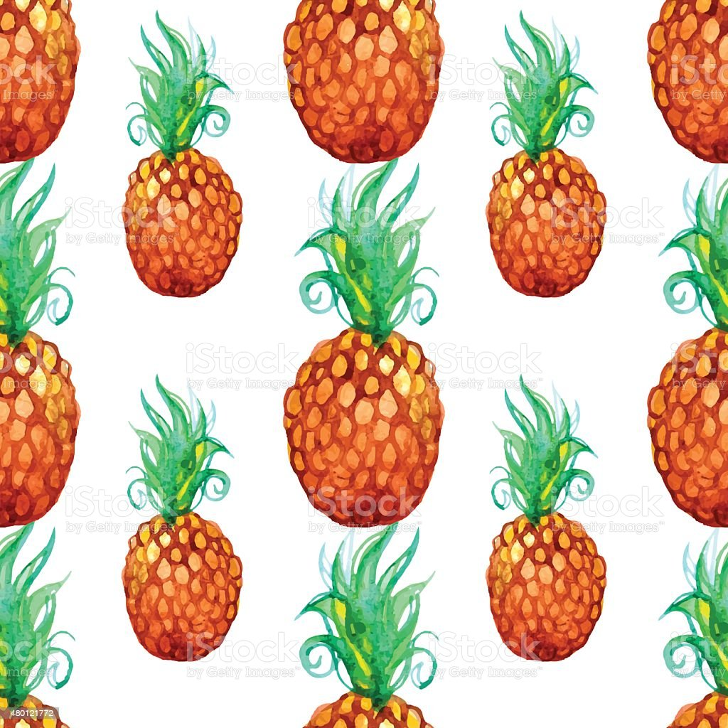 Watercolor pineapple pattern vector art illustration