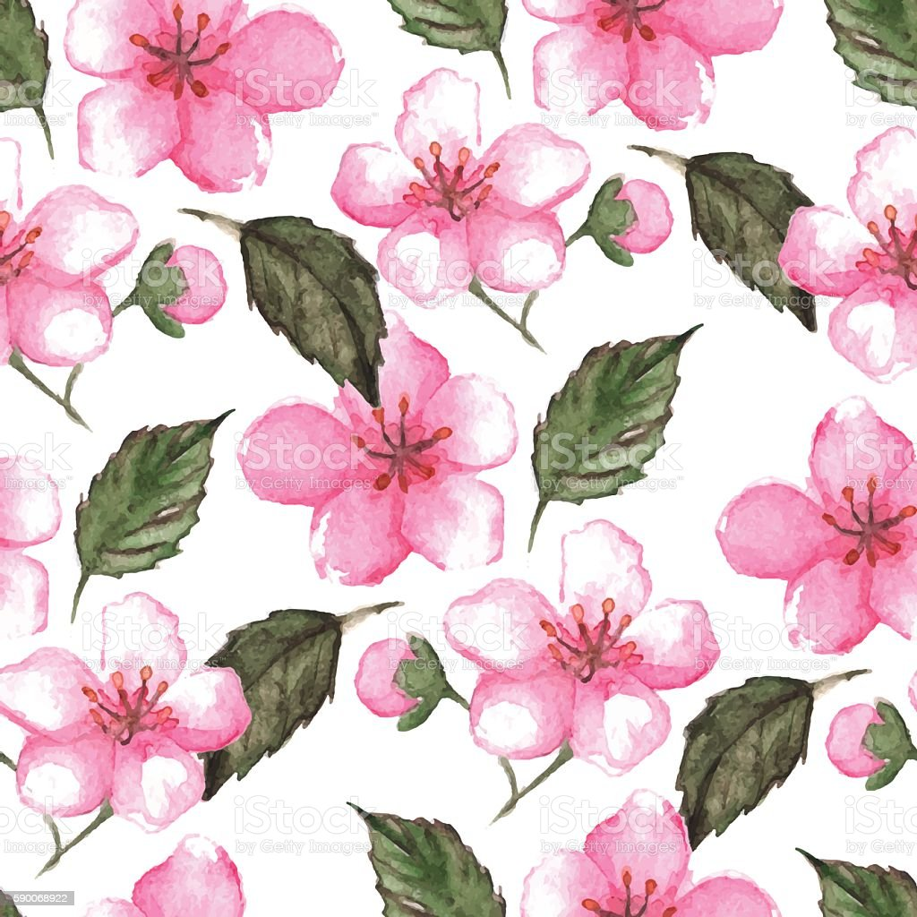 Watercolor pink cherry sakura seamless pattern texture background vector vector art illustration
