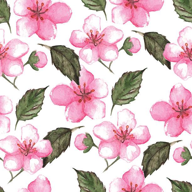Watercolor pink cherry sakura seamless pattern texture background vector vector art illustration