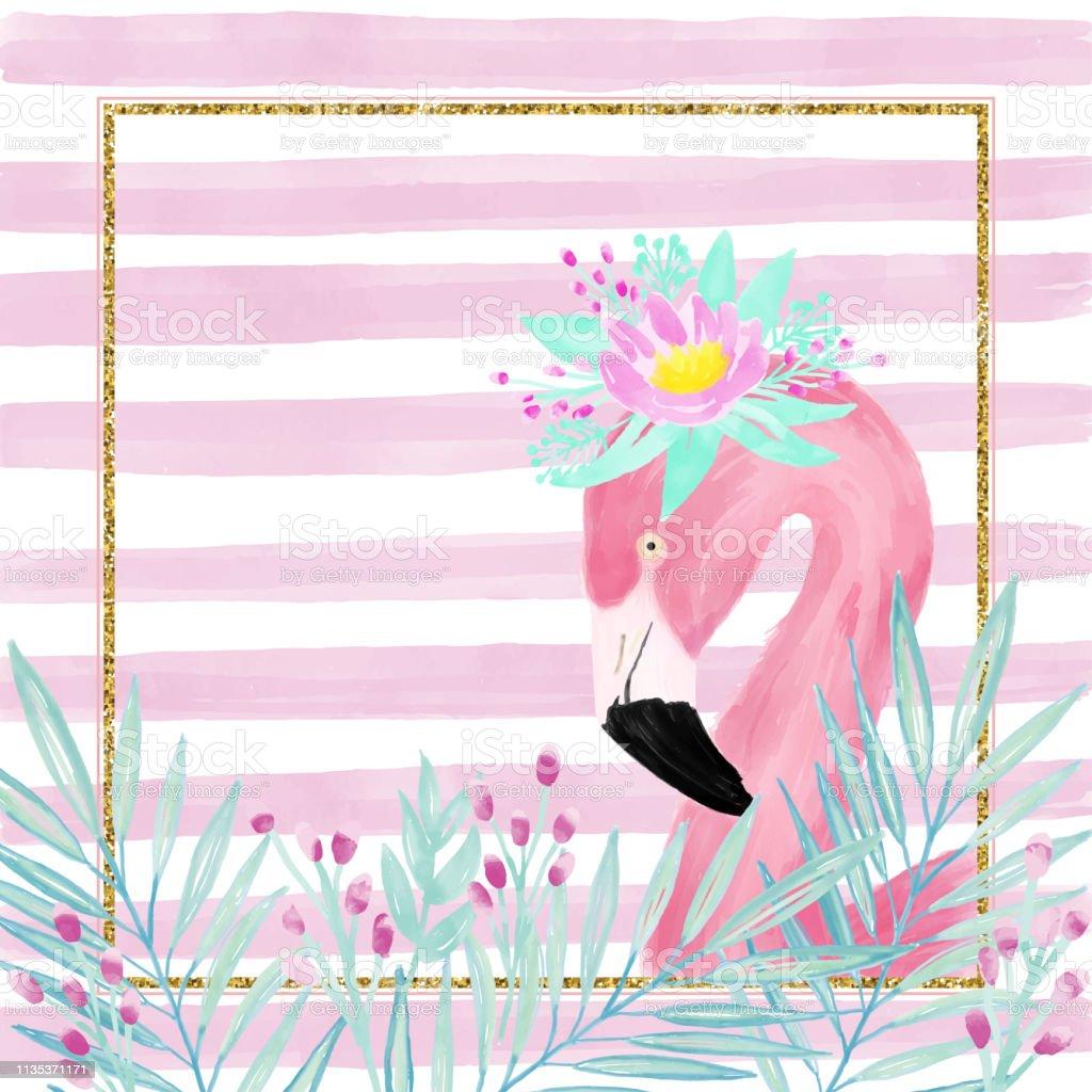 Watercolor Pink Flamingo Wearing A Fresh Spring Flower Crown
