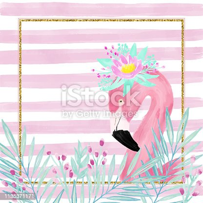 Watercolor Pink Flamingo Wearing a Fresh Spring Flower Crown, Portrait, Side View. Tropical Exotic Bird Background, Tropical Summer Concept, Design Element. Glitter Frame with Flamingo Greeting Card.