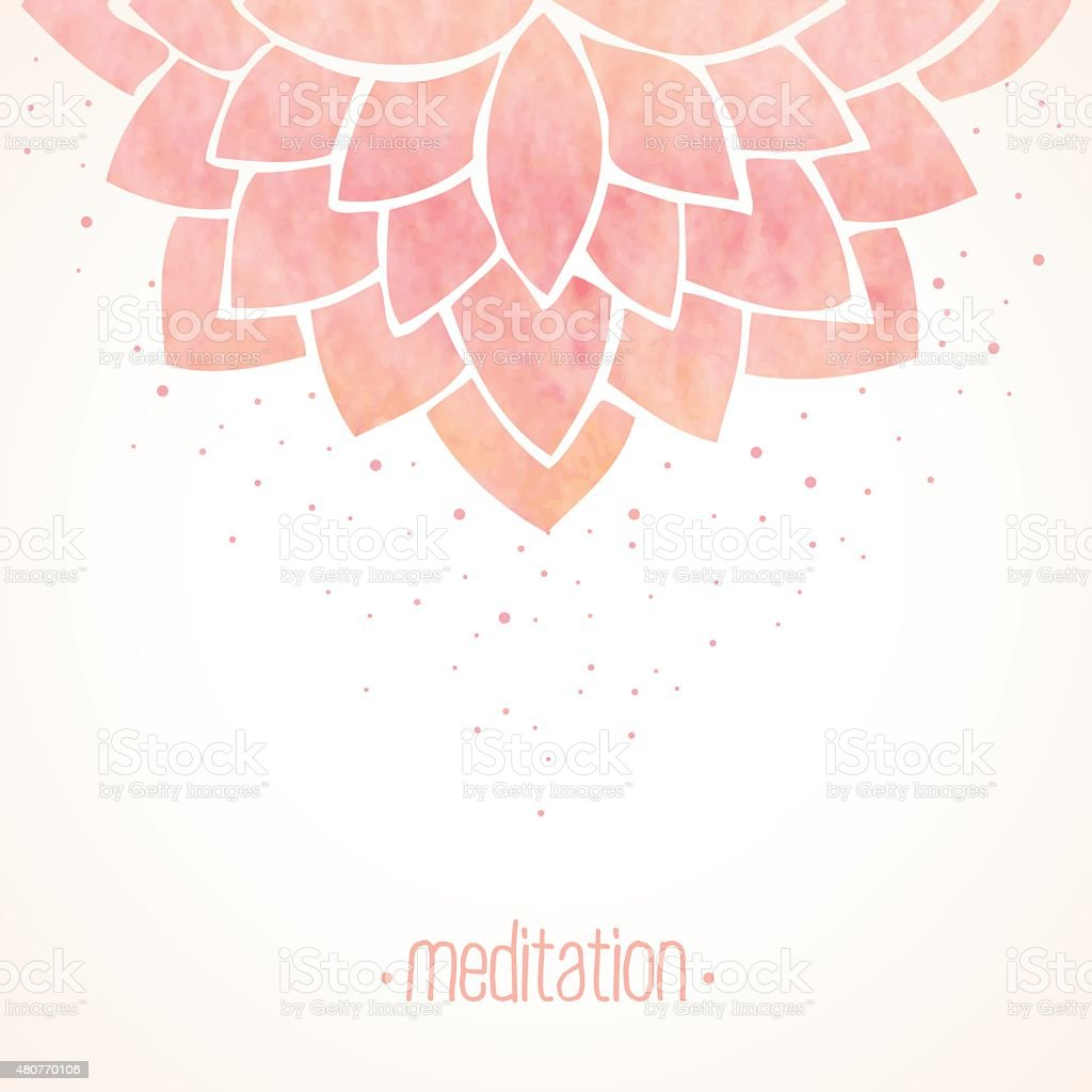 Watercolor pink floral background vector art illustration