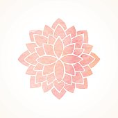 Watercolor pink lotus. Mandala. Indian, Chinese, japanase oriental circled element for design. Flower pattern on white background. Vector illustration