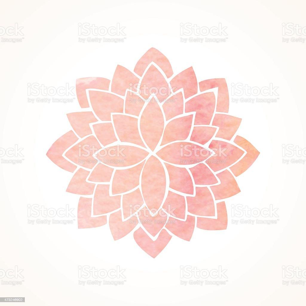 Watercolor pink flower pattern. Silhouette of lotus. Mandala vector art illustration