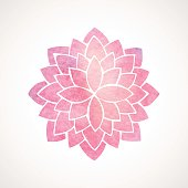 Watercolor pink lotus. Mandala. Indian oriental circled element for design. Flower pattern on white background. Vector illustration, Perfect for yoga, spa, wedding invitations, ayurvedic cosmetic products
