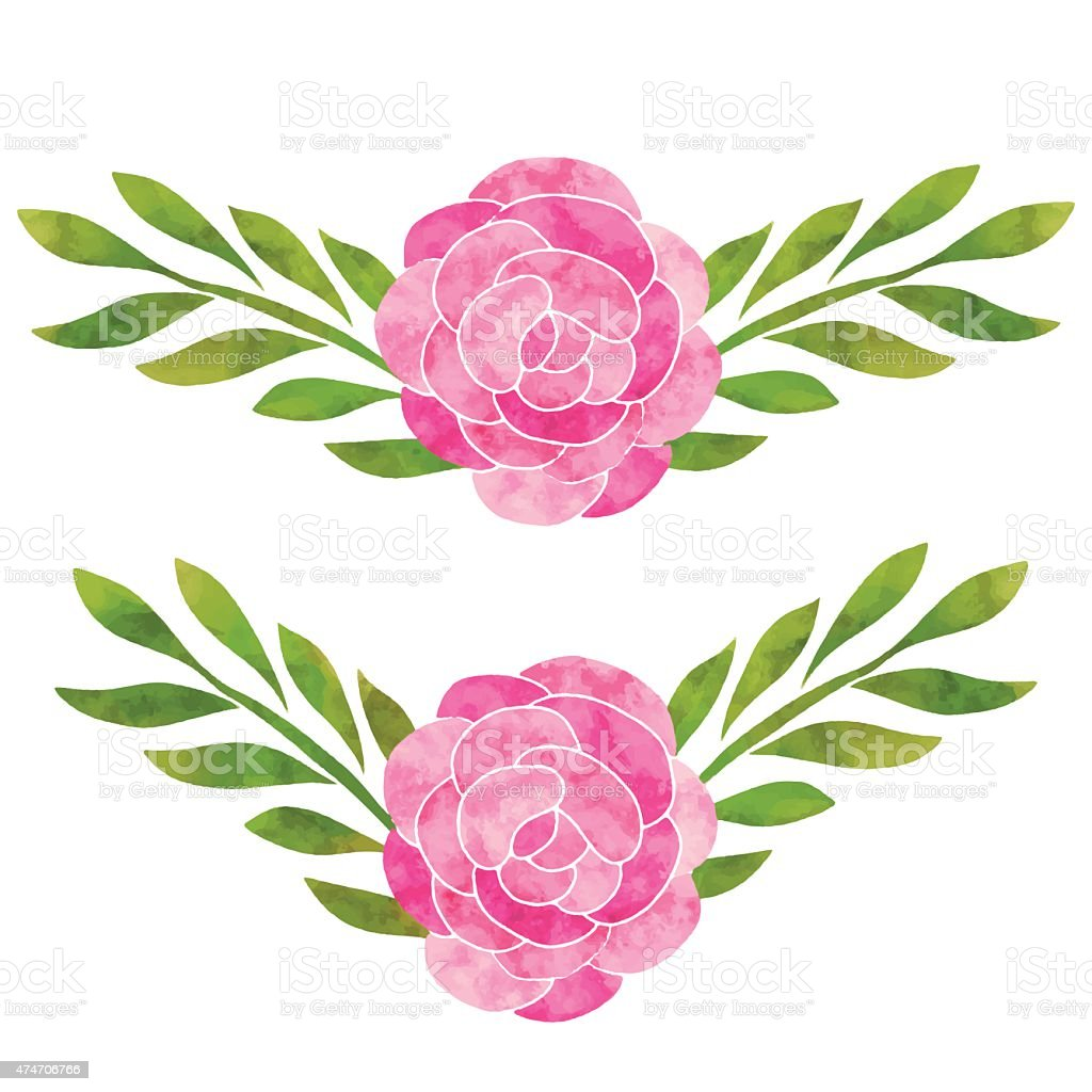 Watercolor pink flowers roses leaves stock vector art more images watercolor pink flowers roses leaves royalty free watercolor pink flowers roses leaves stock vector mightylinksfo