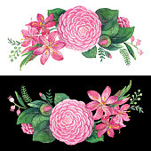 Watercolor Pink Flowers Wreath In Stipple Effect. An original artwork vector illustration of hand drawn pink flowers wreath. This inspirational design can be a postcard, invitation, web banner, shop window, postcard, invitation, poster or prints.