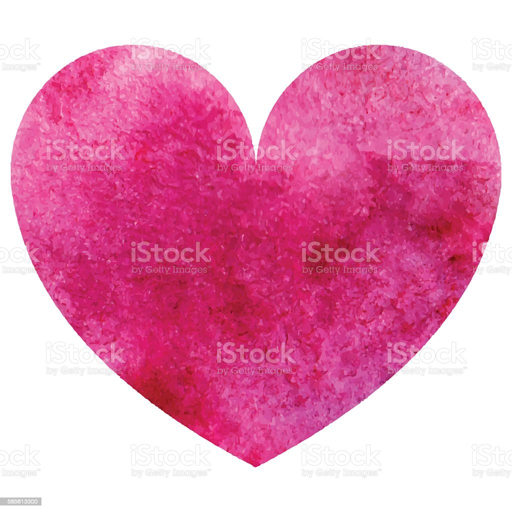 Download Watercolor Pink Heart Love Symbol Isolated Vector Stock ...
