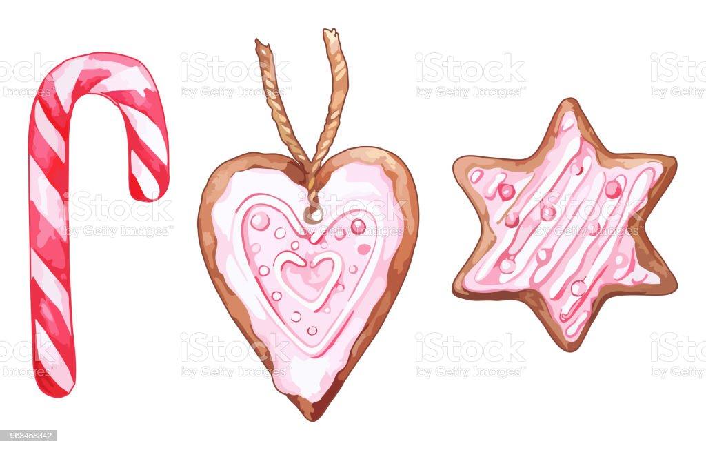 Acuarela rosa corazón en forma de conjunto de seis puntas estrellas jengibre galletas aislados vector - arte vectorial de Acuarela libre de derechos