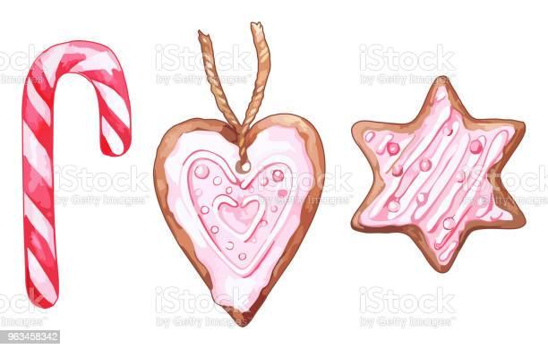 Ilustración de Acuarela Rosa Corazón En Forma De Conjunto De Seis Puntas Estrellas Jengibre Galletas Aislados Vector y más Vectores Libres de Derechos de Menta piperina