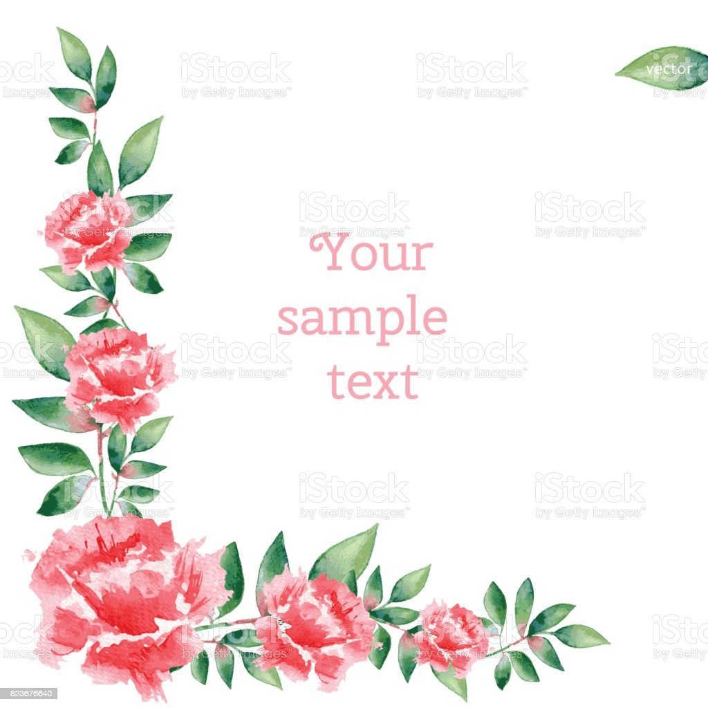 Watercolor pink rose flower hand drawn vector illustration isolated watercolor pink rose flower hand drawn vector illustration isolated on white background decorative border kristyandbryce Image collections