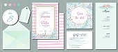 Watercolor Pink Spring Flowers and Leaves with Pink Striped Background, Wedding Invitation Template Set. Table Number&Thank You Labels, Invitation Card, Save The Date Card, R.S.V.P. Card and Menu. Elegant Design Elements for Your Special Day.(See the size info on the left)
