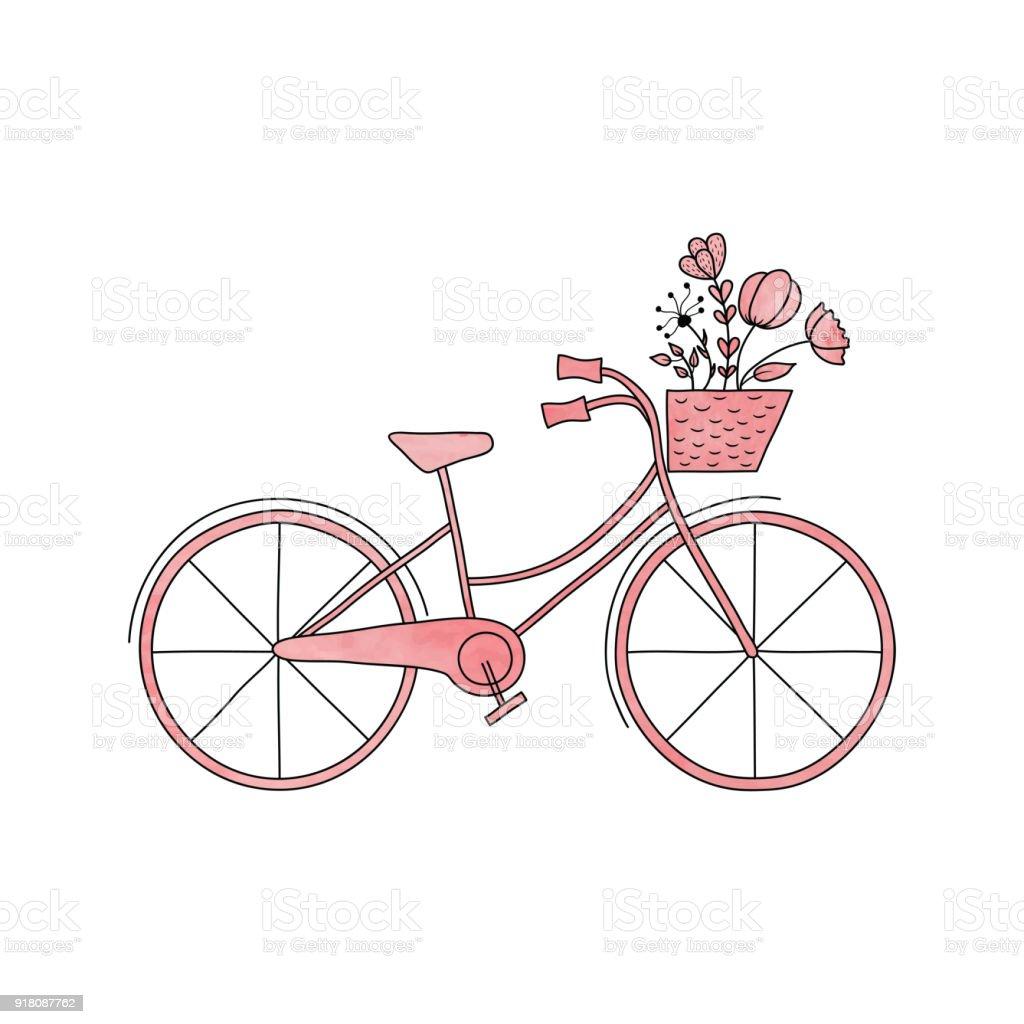 Sulu Boya Pembe Vektör Bisiklet Sepeti Ve çiçekler Ile Stok Vektör