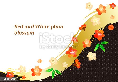 watercolor plam flowers with black backgrond