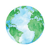 Watercolor Planet Earth