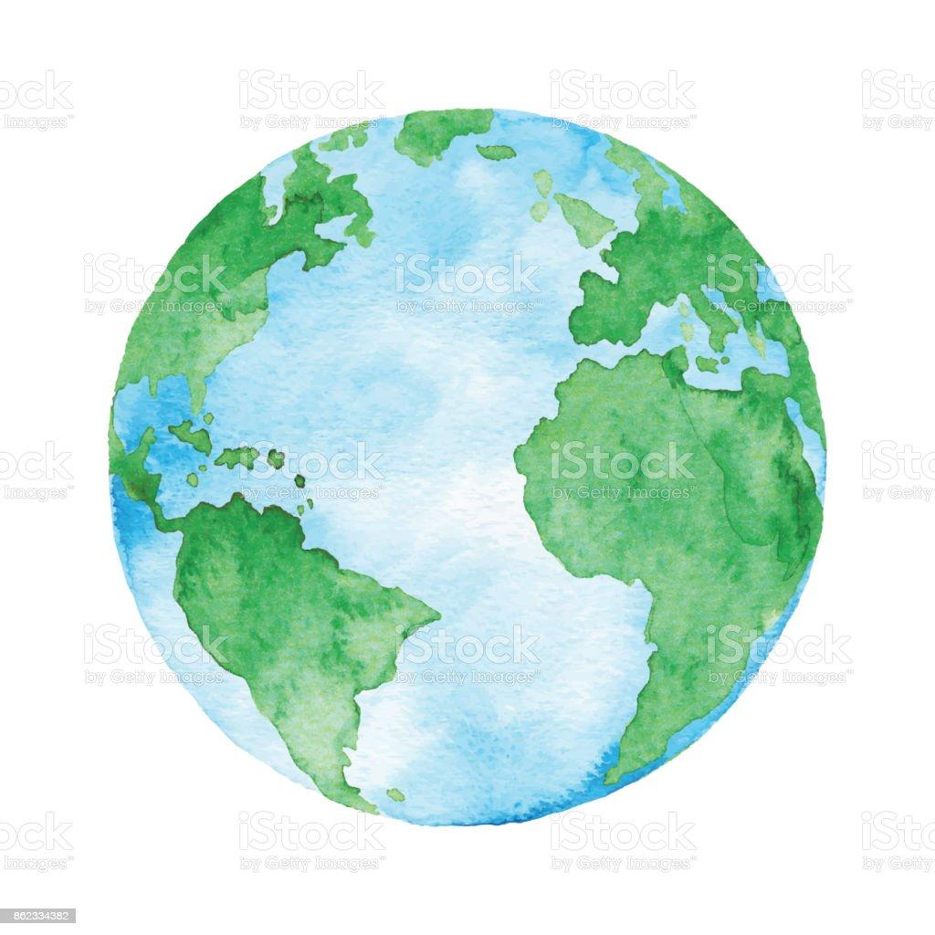 Watercolor Planet Earth vector art illustration