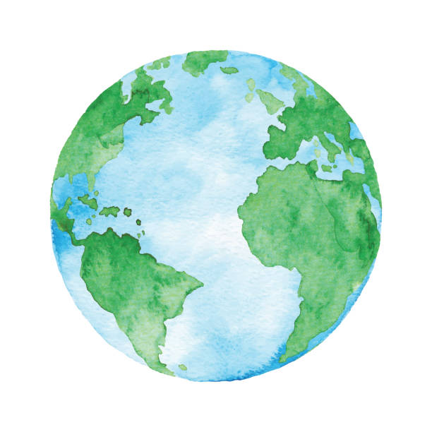 stockillustraties, clipart, cartoons en iconen met aquarel planeet aarde - planeet aarde