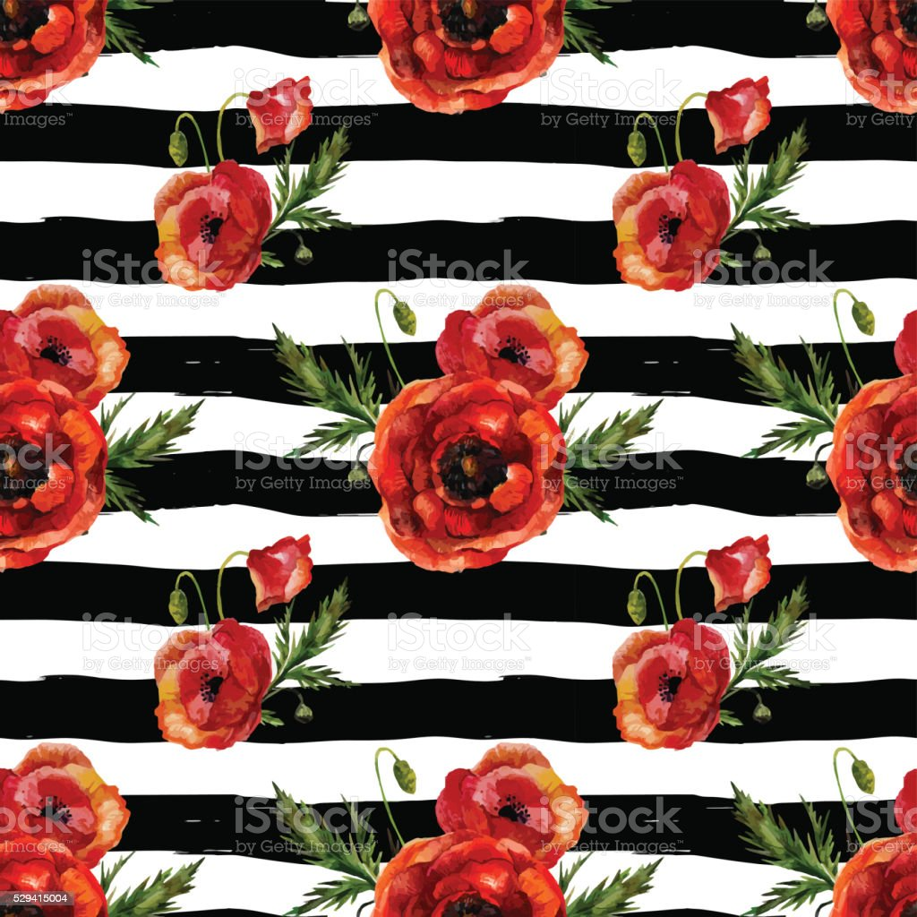 Watercolor poppies seamless pattern. vector art illustration