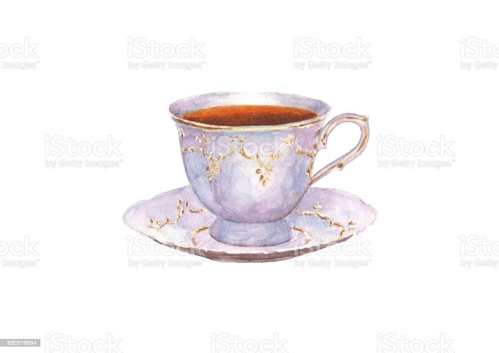 Watercolor porcelain cup of tea and saucer vector art illustration